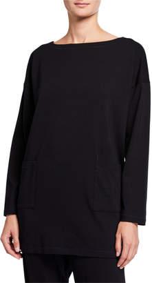 Eileen Fisher Stretch Jersey Long-Sleeve Tunic w/ Pockets