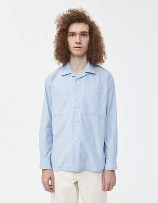 Beams Open Collar Hairline Check Shirt