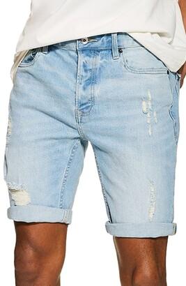 Topman Skinny Fit Ripped Stretch Denim Shorts
