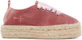 Manebi Pink Velvet Hamptons Sneaker Espadrilles