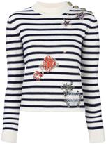 RED Valentino embellished striped jumper - women - Cotton/Polyamide/Viscose/Metallic Fibre - S