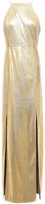 Halston Metallic Coated Faux Suede Gown
