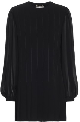 Saint Laurent Pleated crepe minidress