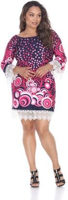 White Mark Plus Size Print Off-The-Shoulder Dress