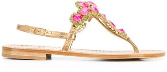 Emanuela Caruso Gem Embellished Open Toe Sandals