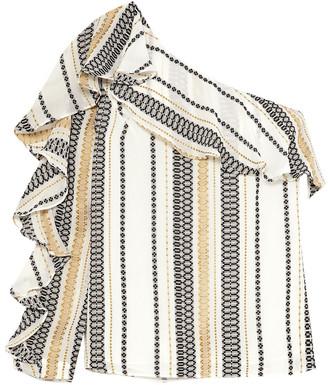 ZEUS + DIONE Artemis One-shoulder Striped Silk-blend Gauze Top