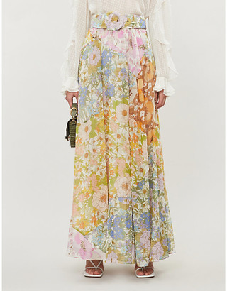 Zimmermann Super Eight floral-print cotton and silk-blend maxi skirt