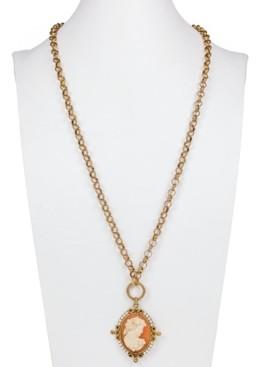 "Patricia Nash Gold-Tone Imitation Pearl Cameo Medallion 21-1/2"" Convertible Pendant Necklace"