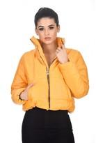 AX Paris Mustard Wet Look Puffer Jacket