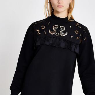 River Island Black broderie frill sweatshirt dress