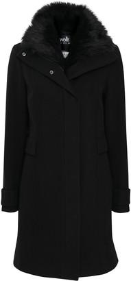 Wallis Black Faux Fur Collar Funnel Coat