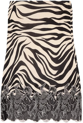 Chloé Embroidered Mesh-trimmed Zebra-print Satin-jersey Midi Skirt