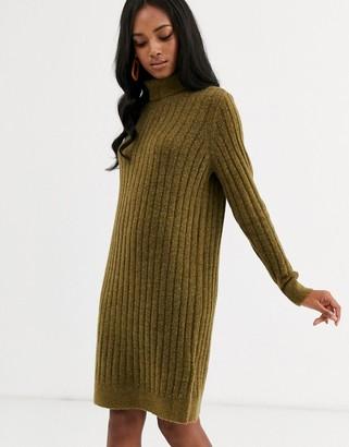 Y.A.S brushed rib roll neck midi sweater dress
