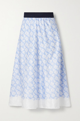 By Malene Birger Biella Floral-print Satin Midi Skirt - Blue