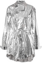 TRE - Louis Pleated Metallic Coated-cotton Top - Silver