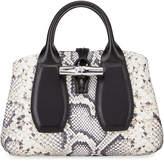 Longchamp Roseau Mini Python-Print Tote Bag with Crossbody Strap