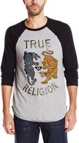 True Religion Men's Panther Vs Tiger Embroidered T-Shirt, Heather Grey/Black