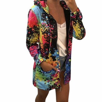 Shyy Coat Women Long-Sleeve Shirt Drawstring Pockets Fashion Multi-Colored Printed Zip Slim Fit Warm Cardigan Sweatshirt Business Casual Jacket Autumn Winter Fitness Jogging Sport Pullover Top S