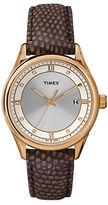 Timex Ladies Goldtone Watch with Lizard Leather Strap