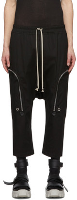 Rick Owens Black Cropped Cargo Pants