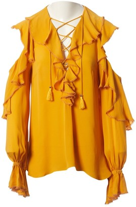 Elie Saab Yellow Silk Top for Women