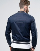 Armani Jeans Slim Bomber Jacket Tipped Embroidered Back in Navy