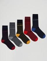 Ben Sherman 5 Pack Sock Gift Box Mini Dot