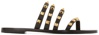 Valentino Black Garavani Rockstud Flair Thong Sandals