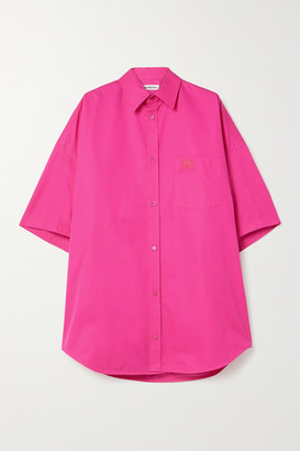 Balenciaga Oversized Embroidered Cotton-poplin Shirt - Bright pink