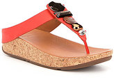 FitFlop Jeweley Leather Chunky Stone Detail Slip On Thong Sandals