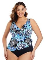 Plus Size Great Lengths Tummy Slimmer Medallion One-Piece Swimsuit