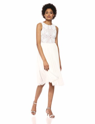 Dress the Population Women's Cathy Sequin and Chiffon FIT & Flare Sleeveless MIDI Dress