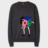 Paul Smith Men's Dark Grey 'Dancing Dice' Placement Intarsia Merino Wool Sweater