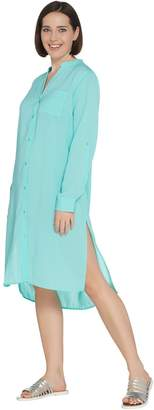 Denim & Co. Beach Crinkle Gauze Button Front Roll-Tab Sleeve Cover-Up
