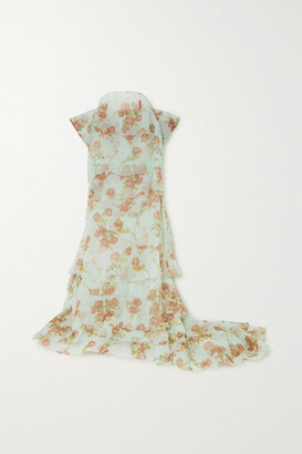 Brock Collection Bow-detailed Tiered Floral-print Silk-organza Maxi Skirt - Turquoise