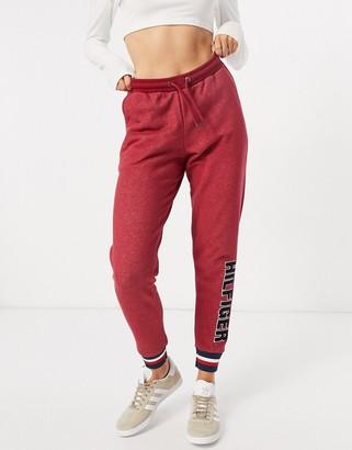Tommy Hilfiger Modern Stripe terrycloth logo sweatpants in red