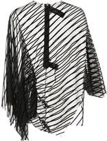 Velvet-Striped Asymmetric Top