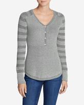 Eddie Bauer Women's Sweatshirt Sweater Henley - Stripe