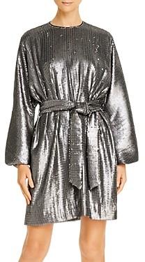 Anine Bing Angie Balloon-Sleeve Matte Sequin Dress
