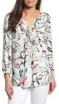 Chaus Jungle Collage Pintuck Blouse