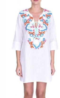 The Aloft Shop - Aloft Embroidered Neck Kaftan - S/M / White