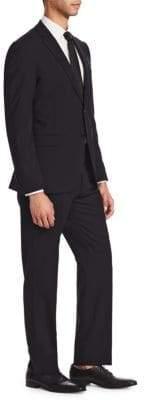 Emporio Armani Black Solid Stretch M Line Suit