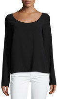 The Row Dona Scoop-Neck Long-Sleeve Tee, Black
