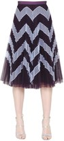 Mary Katrantzou High Waist Zigzag Plisse Tulle Skirt