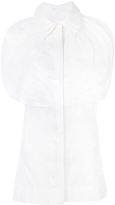 Capucci Pleated Bib Sleeveless Shirt