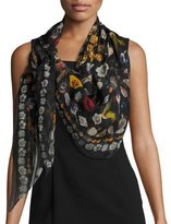 Alexander McQueen Obsessions Printed Silk Chiffon Scarf, Black/Multicolor