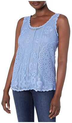 Tribal Embroidered Swing Tank (Blue Wave) Women's Clothing