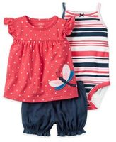 Carter's Dragonfly Top, Stripe Bodysuit, and Bloomer Set in Pink/Navy