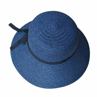 ljpxbb Floppy Foldable Ladies Women Straw Beach Sun Summer Hat Beige Wide Brim Hats Chapeu Summer Hat -Navy_China_One_Size
