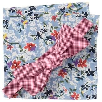 Original Penguin McNair Gingham Bow Tie & Floral Pocket Square Set